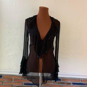 Vintage Black Sheer Sequin Bell Sleeve Top